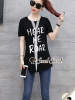 เสื้อผ้าแฟชั่นเกาหลี Seoul Secret Say's... T-Shirt Classic Screen printing ChicChic Scarf