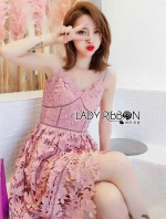 เสื้อผ้าแฟชั่นเกาหลี Lady Ribbon's Made Lady Alisa Baby Pink Guipure Lace Single Dress