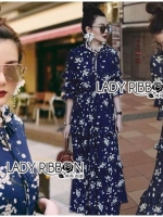 เสื้อผ้าแฟชั่นเกาหลี Lady Ribbon's Made Lady Danielle Flower Printed Navy Blue Chiffon Ruffle Maxi Dress