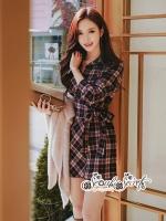 เสื้อผ้าแฟชั่นเกาหลี Lady Ribbon Thailand Seoul Secret Say's...Dress Scott Red&Black Style Korea