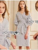 เสื้อผ้าแฟชั่นเกาหลี Lady Ribbon's Made Lady Lara Ribbon Striped Cotton Dress