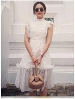เสื้อผ้าแฟชั่นเกาหลี Lady Ribbon's Made Lady Ellie Fancy Ruffle White Lace Dress