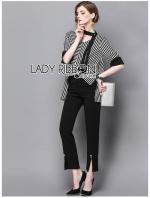 เสื้อผ้าแฟชั่นเกาหลี Lady Ribbon's Made Lady Poppy Minimal Chic Striped Top with Scarf and Black Pants Set