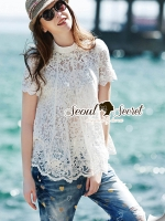 Seoul Secret Say's...Chic Diamond Furnish Lace Blouse