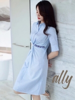 เสื้อผ้าแฟชั่นเกาหลี New Arrival … Don't Miss! Normal Ally Present Striped embroider crystal waist dress
