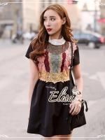Elisa made Feminine Black Stripe Lace luxury style