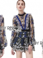 เสื้อผ้าแฟชั่นเกาหลี Lady Ribbon's Made Three Floor Orchid Playsuit