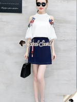 Seoul Secret Say's... Rosy Flora Furnish Open Shoulder Denim Skirt Set