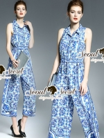 Seoul Secret Say's... Saphee Luis Blue Print Long Playsuit