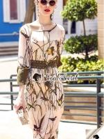 Seoul Secret Say's... Chic Branches Bird Print Ropy Belt Maxi Dress