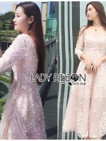 เสื้อผ้าแฟชั่นเกาหลี Lady Ribbon's Made Lady Matilda Flower Embroidered Champagne Lace Dress