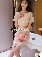 Seoul Secret Say's... Lovely Goldy Leaf&Flora Lace Dress