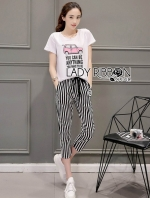 เสื้อผ้าแฟชั่นเกาหลี Lady Ribbon Thailand Lady Ribbon's Made Lady Diana Street Style Printed T-Shirt and Striped Pants Set
