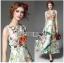 Lady Ribbon Korea Maxi Dress LR15270616 &#x1F380 Lady Ribbon's Made &#x1F380 Lady Sara Floral Blossoms Printed and Embroidered SatinMaxi Dress thumbnail 1