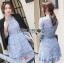 &#x1F380Lady Ribbon's Made &#x1F380Lady Ariana Sweet Feminine French Lace Dress in Light Blue thumbnail 2