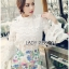 Lady Ribbon's Made &#x1F380 Lady Cara Feminine Flare-Sleeve Lace Blouse Korea Dress thumbnail 4