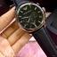 Emporio Armani Oversize Gents Chronograph Watch, Black Dial, Black Leather Strap thumbnail 1