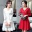 Lady Ribbon เสื้อผ้าเกาหลี LR08110716 &#x1F380 Lady Ribbon's Made &#x1F380 Lady Blaire Classic Feminine Lace Cocktail Dress ค็อกเทลเดรสผ้าลูกไม้สไตล์คลาสสิก thumbnail 1