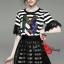 Lady Ribbon Korea Brand SW 06060616 Sweet Bunny Present... Stripe A-line Dress With Black Lace Skirt Set thumbnail 2