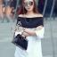 Lady Ribbon Sevy SV06290516 &#x1F389Sevy Off Shoulder Long Sleeve Shirt thumbnail 2
