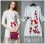 Lady Ribbon Dress LR04300516 &#x1F380 Lady Ribbon's Made &#x1F380 Lady Julia Red Flower Embroidered White Lace Dress with Fringes เดรสผ้าลูกไม้ thumbnail 5