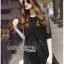 Lady Ribbon's Made &#x1F380 Lady Elena Feminine Cross Dot Printed Chiffon and Knitted Dress thumbnail 4