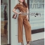Lady Ribbon Korea Closet LR16270616 &#x1F380 Lady Ribbon's Made &#x1F380 Lady Lyla Modern Minimal Chic Lacy Camel Jumpsuit thumbnail 3