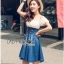 Lady Ribbon Korea Dressเสื้อผ้า Denim LR11010816 &#x1F380 Lady Ribbon's Made &#x1F380 Lady Rachel Sweet & Sexy Off-Shoulder Flower Lace and Denim Dress เดรสเปิดไหล่ thumbnail 2