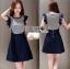 Lady Ribbon Korea Denim Dress LR10270616 &#x1F380 Lady Ribbon's Made &#x1F380 Comme des Garcons Jersey and Denim Dress เ thumbnail 1
