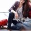 Lady Ribbon Korea เสื้อผ้าเกาหลี ของแท้พร้อมส่ง Lady Ribbon Denim LR17250716 &#x1F380 Lady Ribbon's Made &#x1F380 Lady Kim Skinny Jeans with Crystal Embellished thumbnail 1