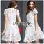 Lady Ribbon เสื้อผ้าเกาหลี LR12140716 &#x1F380 Lady Ribbon's Made &#x1F380 Lady Gabriela Crystal Embellished Flower White Lace Dress เดรสผ้าลูกไม้สีขาว thumbnail 1