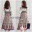 Lady Ribbon เสื้อผ้าเกาหลี LR05110716 &#x1F380 Lady Ribbon's Made &#x1F380 Lady Rosie Feminine White Lace Shirt and Printed Viscose Dress Set เซ็ตเสื้อลูกไม้ thumbnail 1