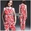 Lady Ribbon Korea LB06160516 &#x1F380 Lady Ribbon's Made &#x1F380 Lady Kimberley Korea Spring Red Floral Printed Collared Top and Pants Set thumbnail 1