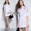 Dress Lady Ribbon Korea Cotton Long Dress Shirt เดรสเชิ้ต thumbnail 1