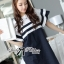 Dress Lady Ribbon Koreain Navy Style เดรส thumbnail 7