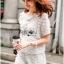 Lady Ribbon Dress Lady Ribbon Korea LR21190516 &#x1F380 Lady Ribbon's Made &#x1F380 Lady Paule Mini Flower Embroidered Organza and Chiffon White Set thumbnail 3
