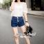 Lady Ribbon Closet Design Seoul Secret Say's... Daisy Ivory Denim Shorts set thumbnail 3
