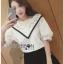 Lady Ribbon เสื้อผ้าเกาหลี LR16140716 &#x1F380 Lady Ribbon's Made &#x1F380 Lady Analeigh Sweet Chic Monochrome Lace and Cotton Blouse เสื้อคอตตอน thumbnail 2