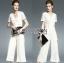 Lady Ribbon Dress LR07120516 &#x1F380 Lady Ribbon's Made &#x1F380 Lady Kiera Smart Chic Lace Dress Denim Jumpsuit in White thumbnail 4