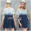 Lady Ribbon เสื้อผ้าเกาหลี LR10110716 &#x1F380 Lady Ribbon's Made &#x1F380 Lady Marina Cut-Out Pearl Embroidered Ombre Denim Dress เดรสผ้าเดนิม thumbnail 1