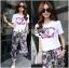Lady Ribbon's Made &#x1F380 Chanel Vivid Floral Printed T-Shirt and Floral Printed Slouchy Pants Korea Set thumbnail 4