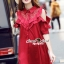 Lady Ribbon Korea SS01300516 Seoul Secret Say's... Coral Red Layer Ornamental Fringe Dress thumbnail 2