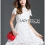 Lady Ribbon เสื้อผ้าเกาหลี LR12140716 &#x1F380 Lady Ribbon's Made &#x1F380 Lady Gabriela Crystal Embellished Flower White Lace Dress เดรสผ้าลูกไม้สีขาว thumbnail 2
