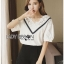 Lady Ribbon เสื้อผ้าเกาหลี LR16140716 &#x1F380 Lady Ribbon's Made &#x1F380 Lady Analeigh Sweet Chic Monochrome Lace and Cotton Blouse เสื้อคอตตอน thumbnail 4