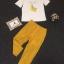 Lady Ribbon Korea Closet LV03070616 &#x1F36DKorea Design By Lavida banana decorated white top yellow pants chic set code739 thumbnail 6