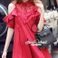 Lady Ribbon Korea SS01300516 Seoul Secret Say's... Coral Red Layer Ornamental Fringe Dress thumbnail 3