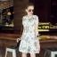 Lady Ribbon Korea Closet Dress Korea Design By Lavida noble green leaf printing luxury lace dress code thumbnail 4