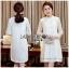 Lady Ribbon's Made &#x1F380 Lady Nara Classic Striped High-Neck Korea Lace Dress เดรสผ้าลูกไม้ thumbnail 3