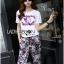 Lady Ribbon's Made &#x1F380 Chanel Vivid Floral Printed T-Shirt and Floral Printed Slouchy Pants Korea Set thumbnail 5