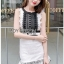 Black & White Lace Lady Ribbon Mini Dress thumbnail 3